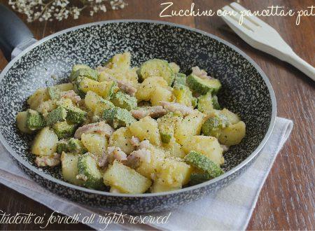 Zucchine con pancetta e patate in padella