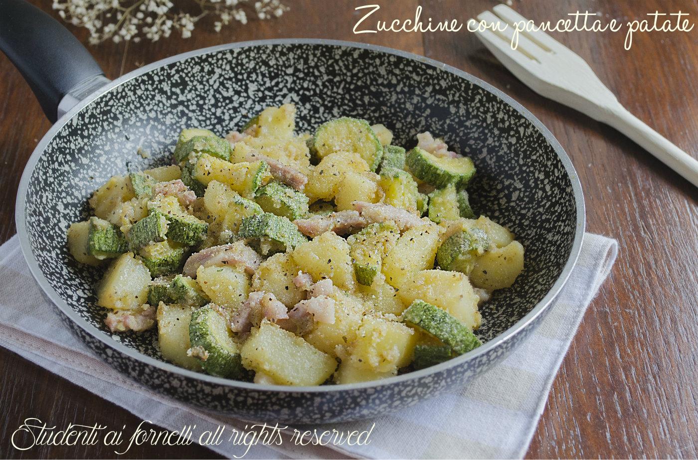 Zucchine con pancetta e patate in padella saporite ricetta for Cucinare zucchine in padella