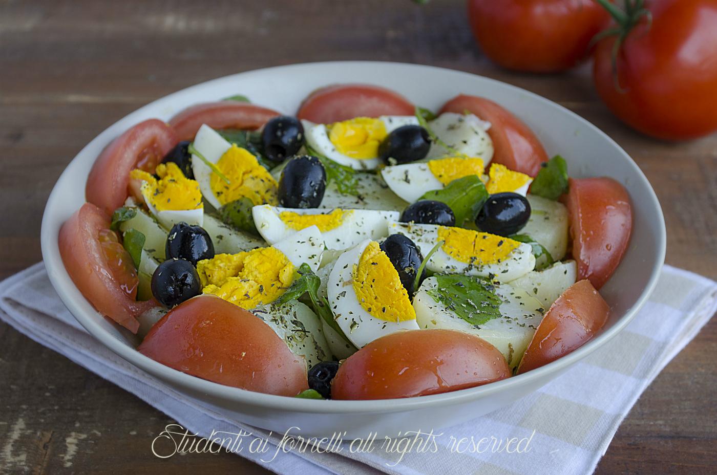 Bien connu Insalata sfiziosa patate uova sode pomodori e olive, ricetta HT34