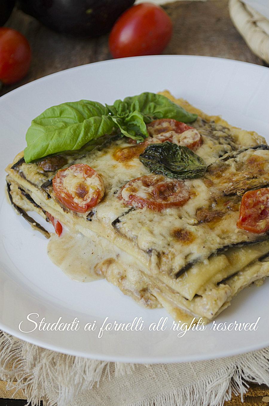 lasagne melanzane e pomdorini leggere con melanzane grigliate ricetta primo facile e veloce