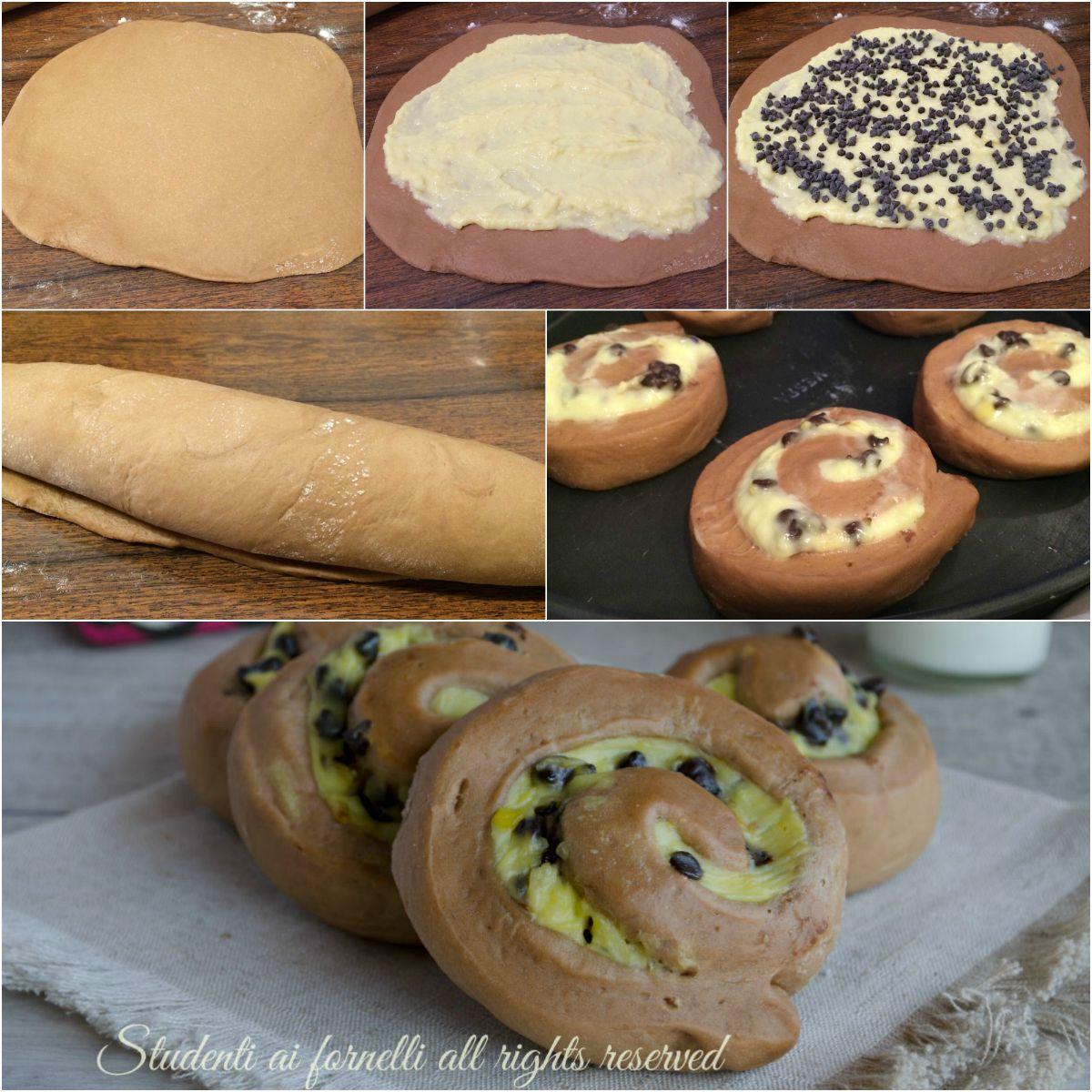 girelle brioche al cioccolato e crema pasticcera sofficissime golose ricetta colazione merenda
