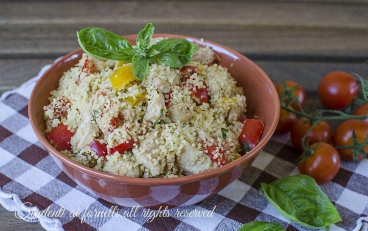 ... cous cous peperoni e pollo ricetta primo estivo freddo facile veloce