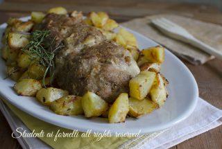 polpettone con patate al forno farcito ripieno con prosciutto funghi scamorza mozzarella ricetta secondo gustoso (1)
