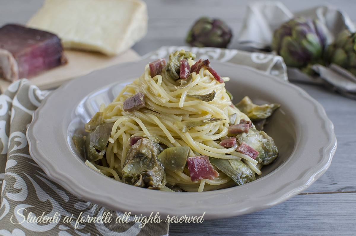 carbonara di carciofi e speck ricetta primo piatto facile veloce