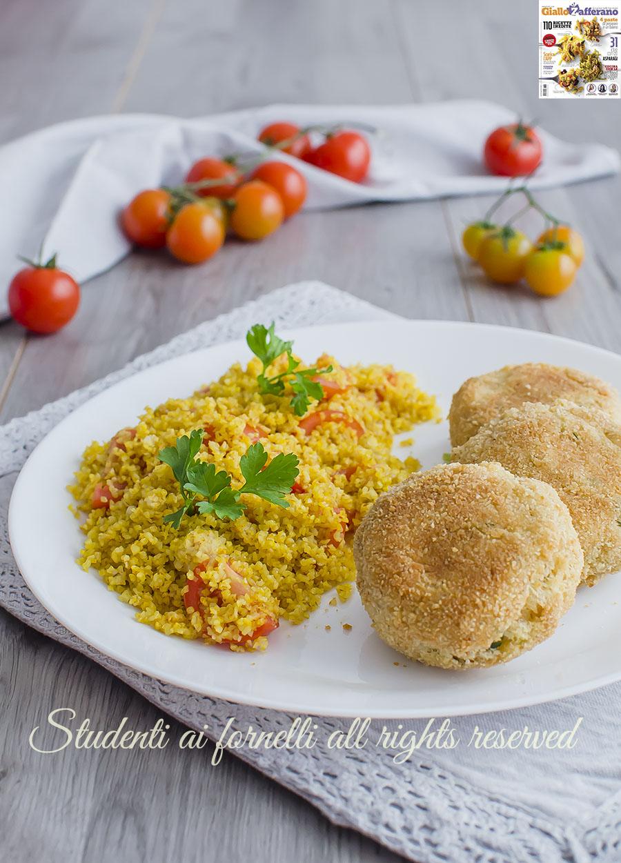 ricette con bulgur rivista giallozafferano polpette di robiola e pane con bulgur allo zafferano e pomodorini ricetta secondo completo