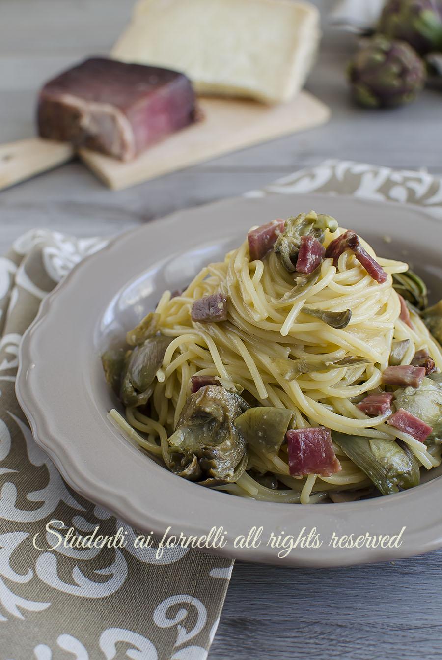 carbonara carciofi e speck ricetta primo piatto facile veloce
