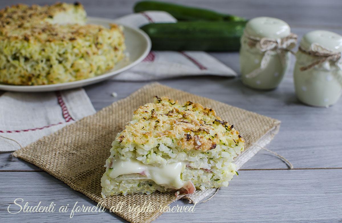 torta di riso zucchine e prosciutto ricetta primo facile al forno gustoso mozzarella video ricetta