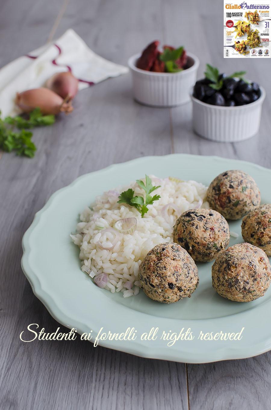 ricetta rivista giallozafferano polpette fredde alla greca feta pomodori secchi olive senza cottura ricetta antipasto facile