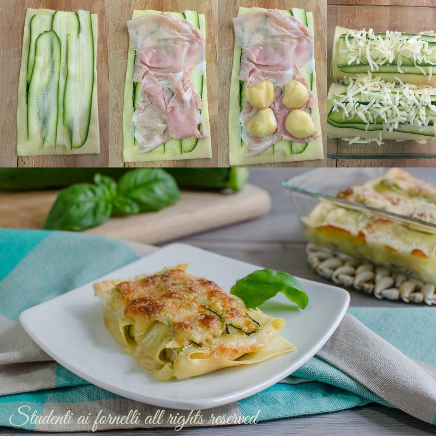 rotolini di lasagna zucchine e prosciutto ricetta primo facile veloce leggero