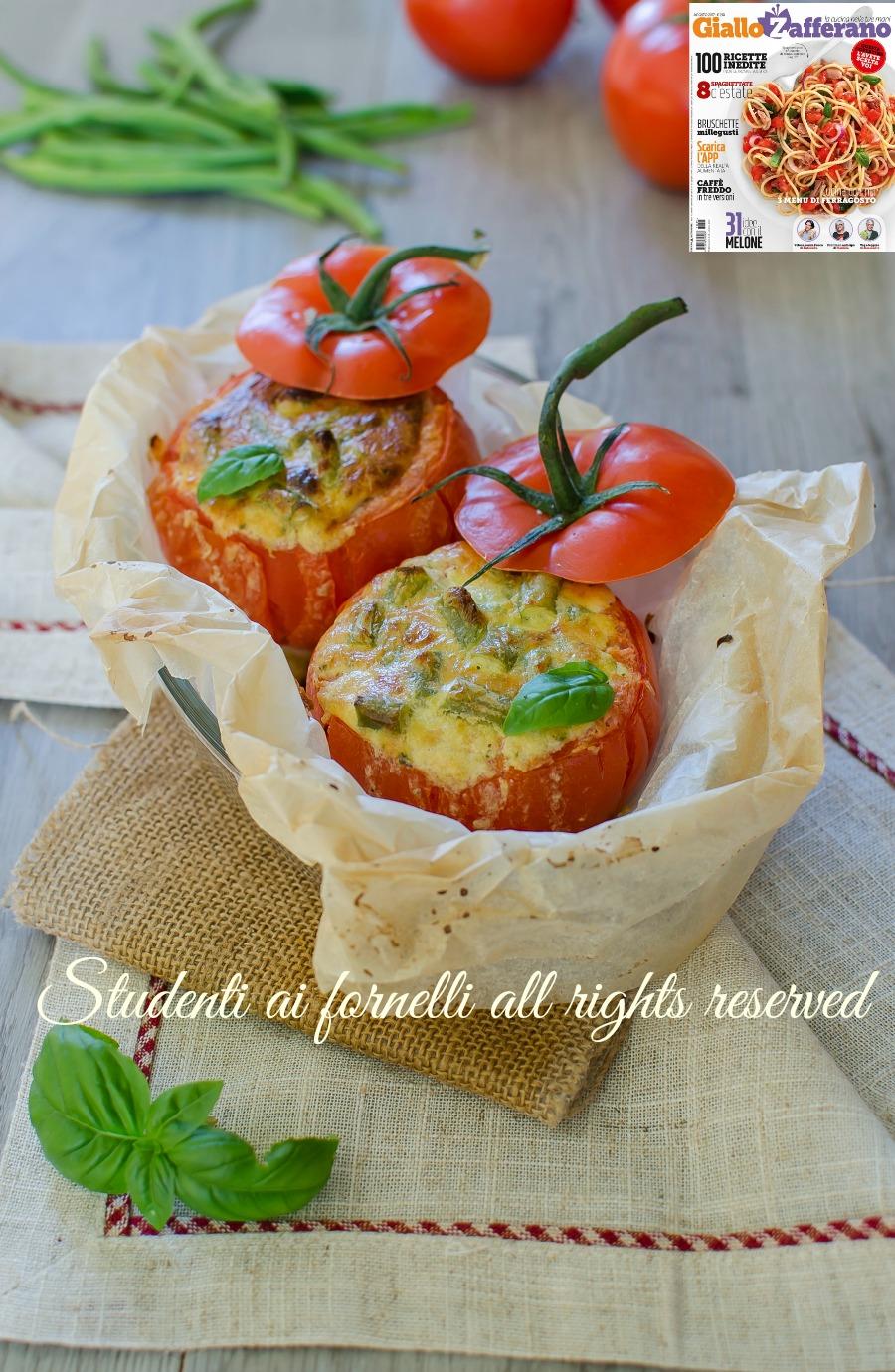 fb pomodori ripieni pesto robiola fagiolini ricetta rivista giallozafferano secondo vegetariano veloce