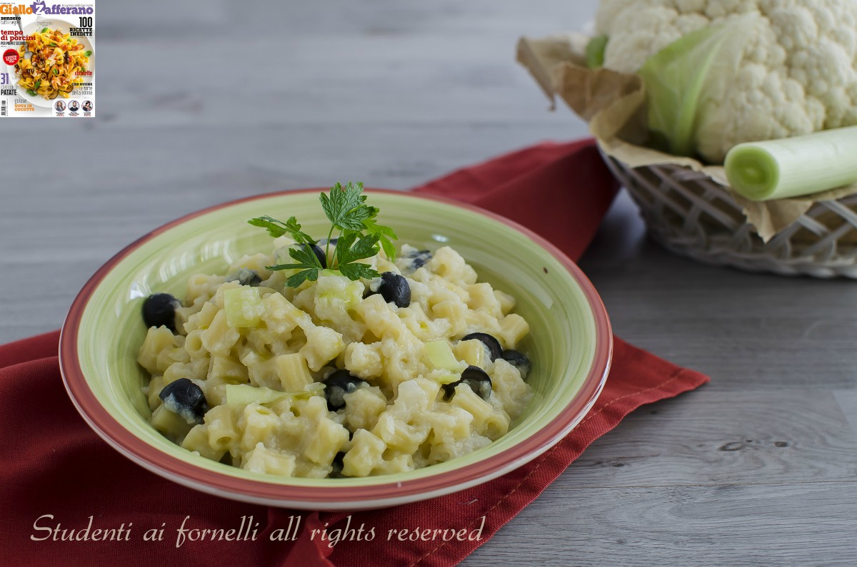 pasta cremosa cavolfiori olive porri ricetta primo facile veloce