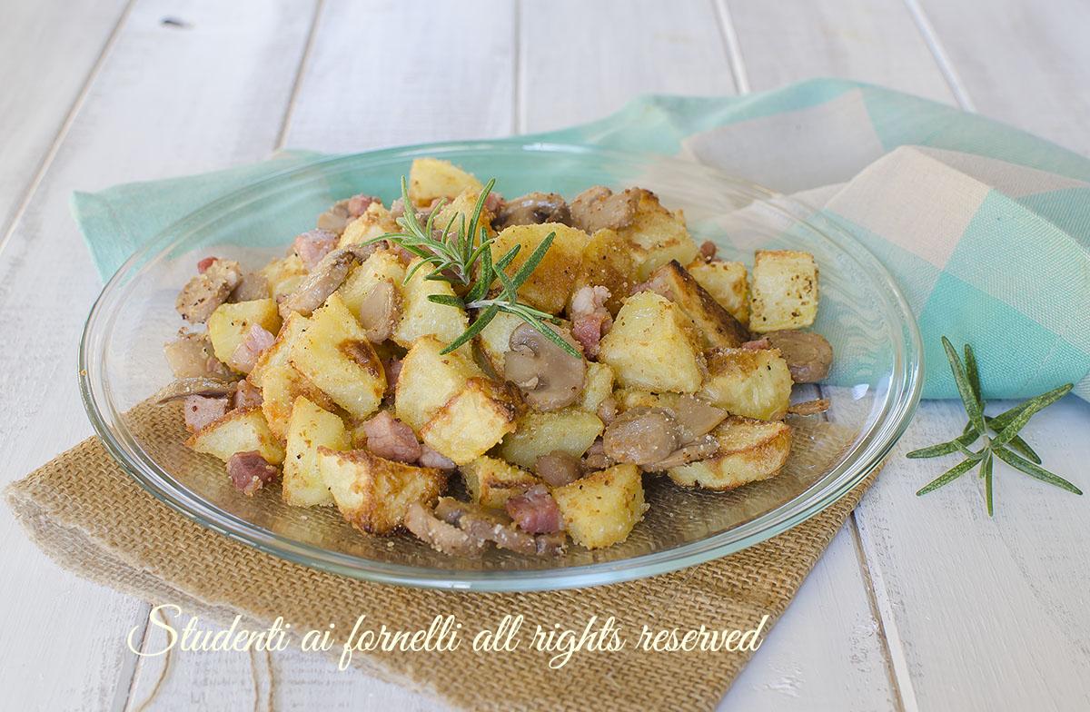 patate sabbiose funghi e pancetta ricetta patate croccanti al forno