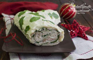 tronchetto salato di natale veloce senza cottura tonno rucola ricotta ricetta antipasto natale veloce