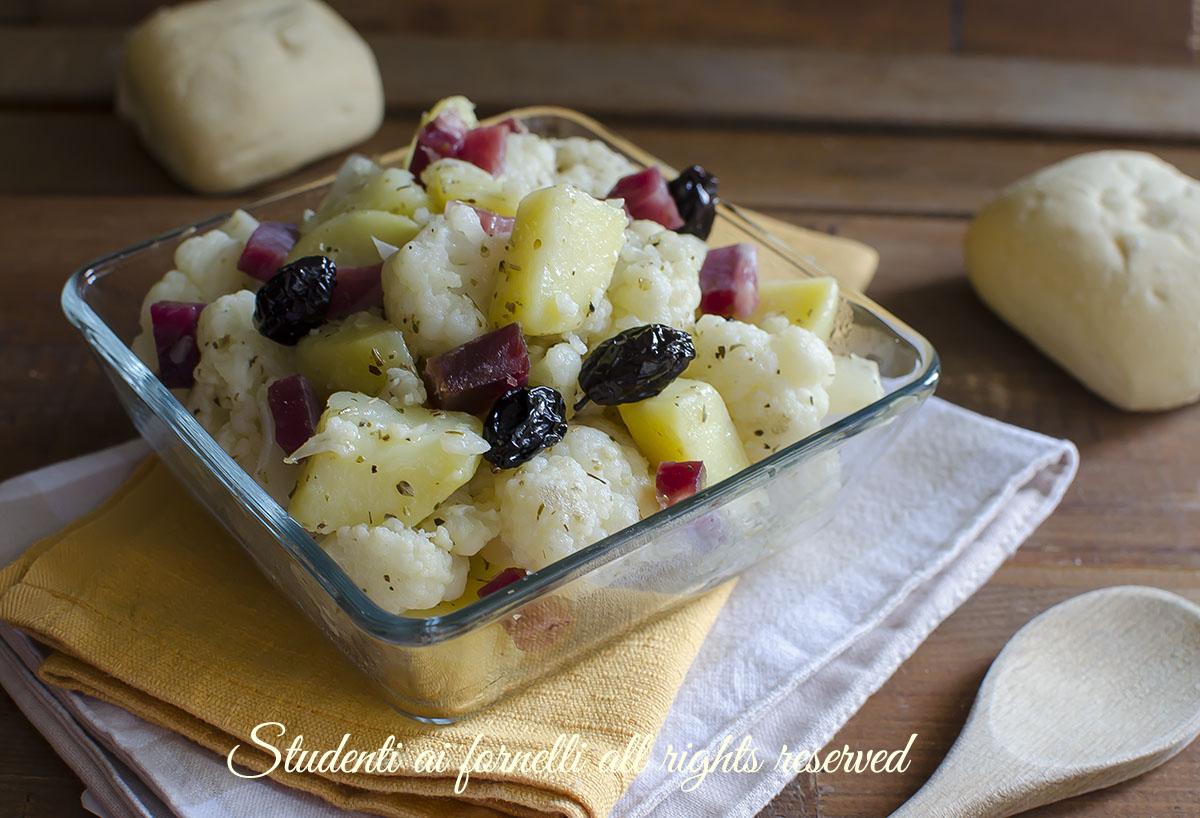 cavolfiori con patate olive e prosciutto ricetta contorno insalata facile
