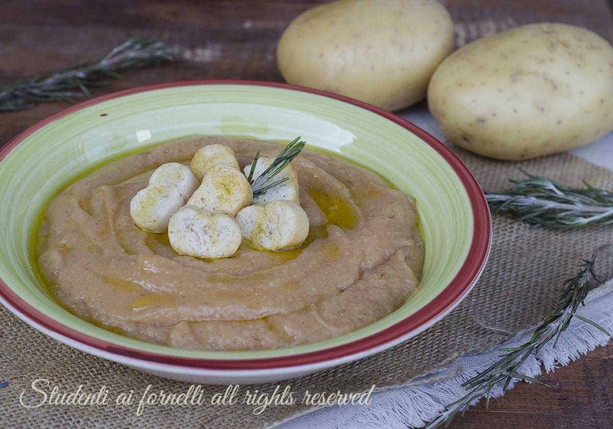 zuppa di fagioli e patate vellutata ricetta primo piatto unico caldo