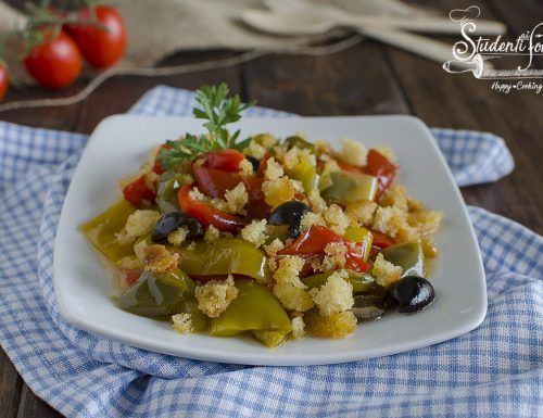 PEPERONI CON MOLLICA CROCCANTE e olive senza frittura