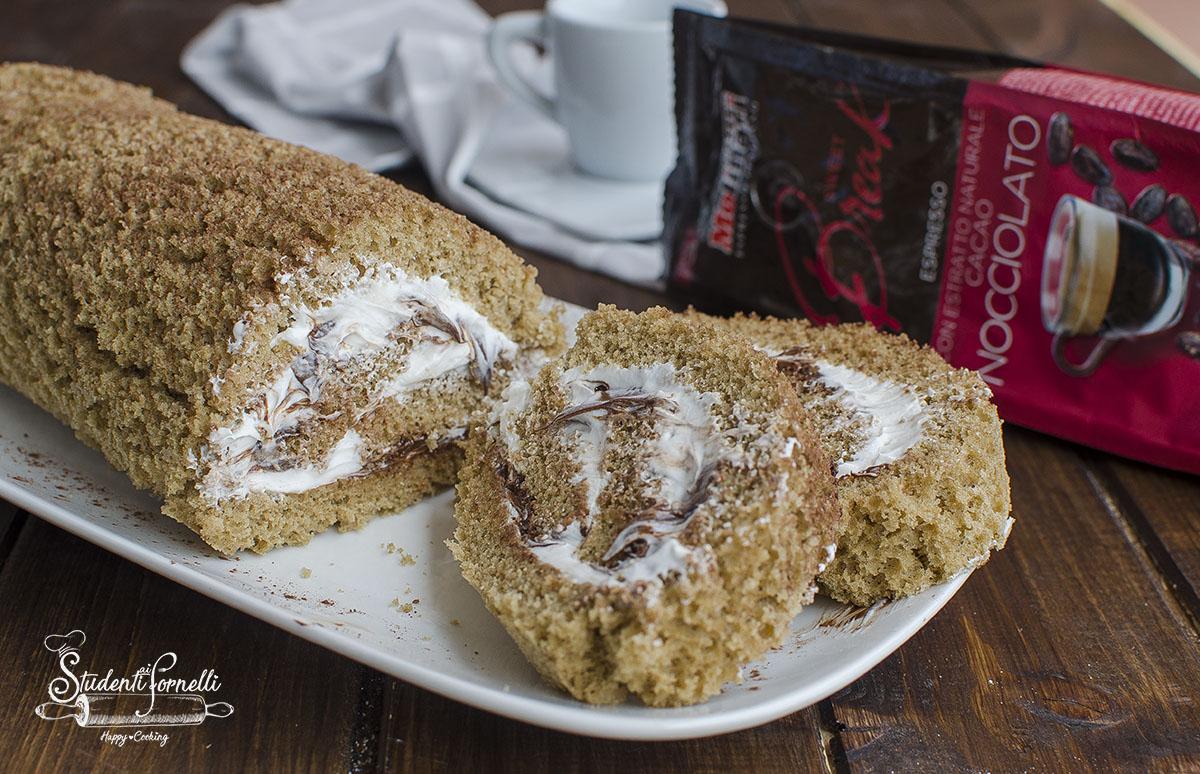 rotolo al caffe con crema paradiso e nutella ricetta dolce