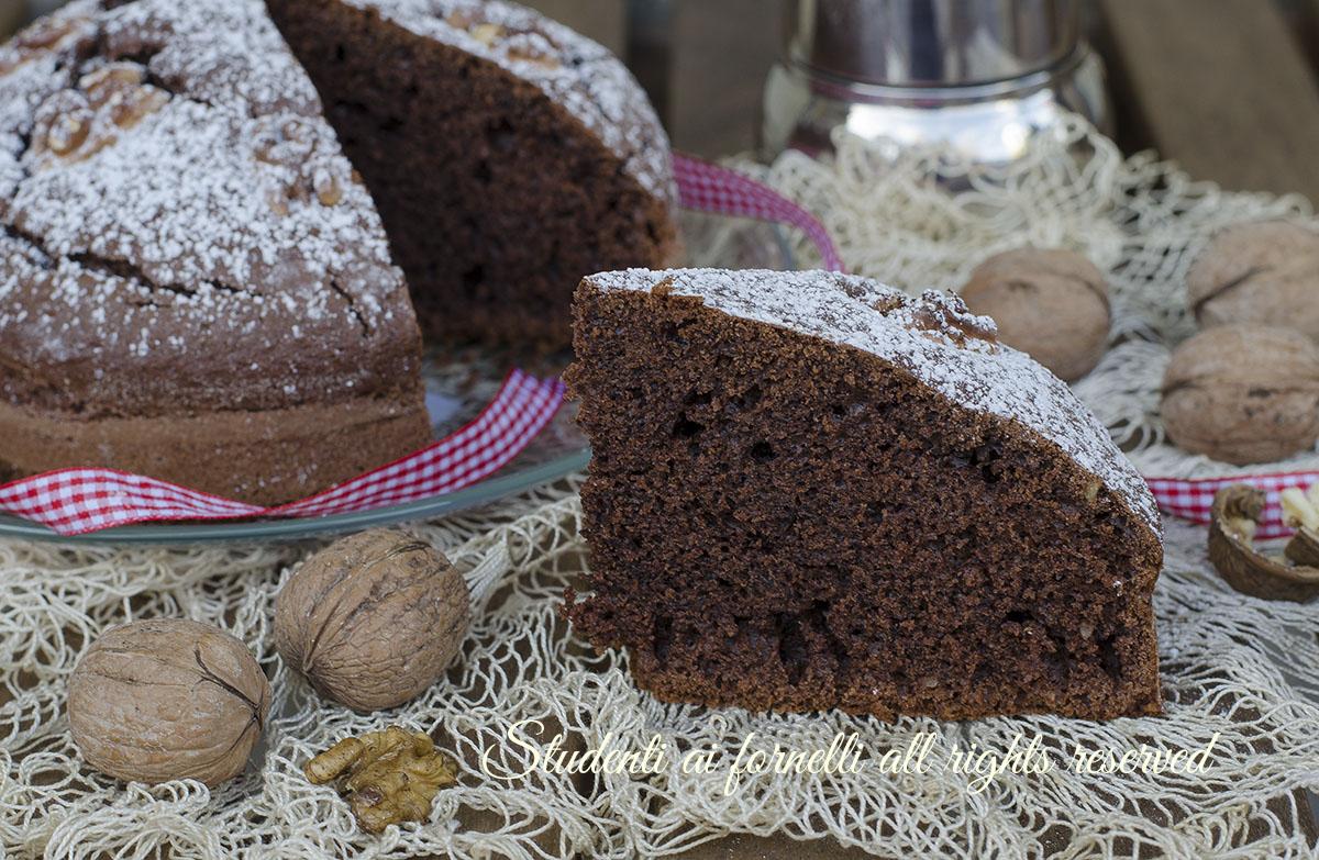 torta alle noci e cacao cioccolato senza burro ricetta dolce soffice umida