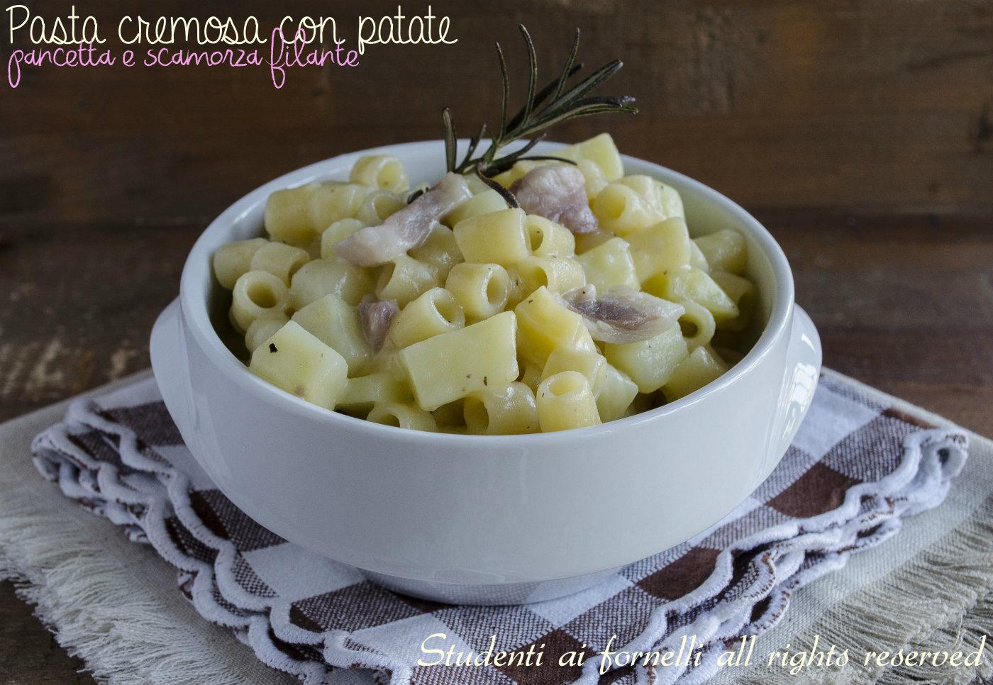 pasta e patate con provola e pancetta ricetta primo veloce pasta,risottata, patate