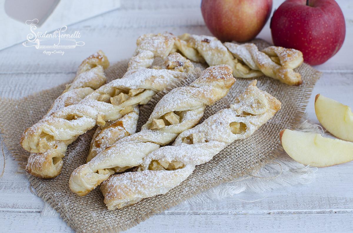torciglioni di sfoglia alle mele ricetta dolce