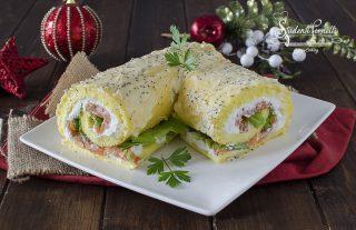 rotolo al salmone e ricotta salato tronchetto delle feste di natale salato farcito