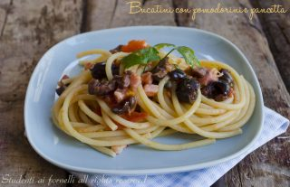 pasta con pancetta olive e pomodorini ricetta primo piatto veloce