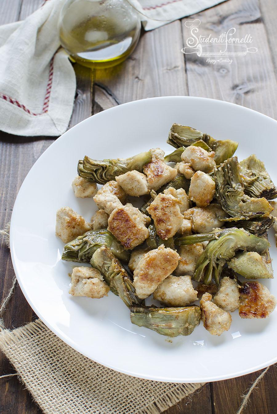 BOCCONCINI di pollo e carciofi in padella rosolati ricetta secondo piatto