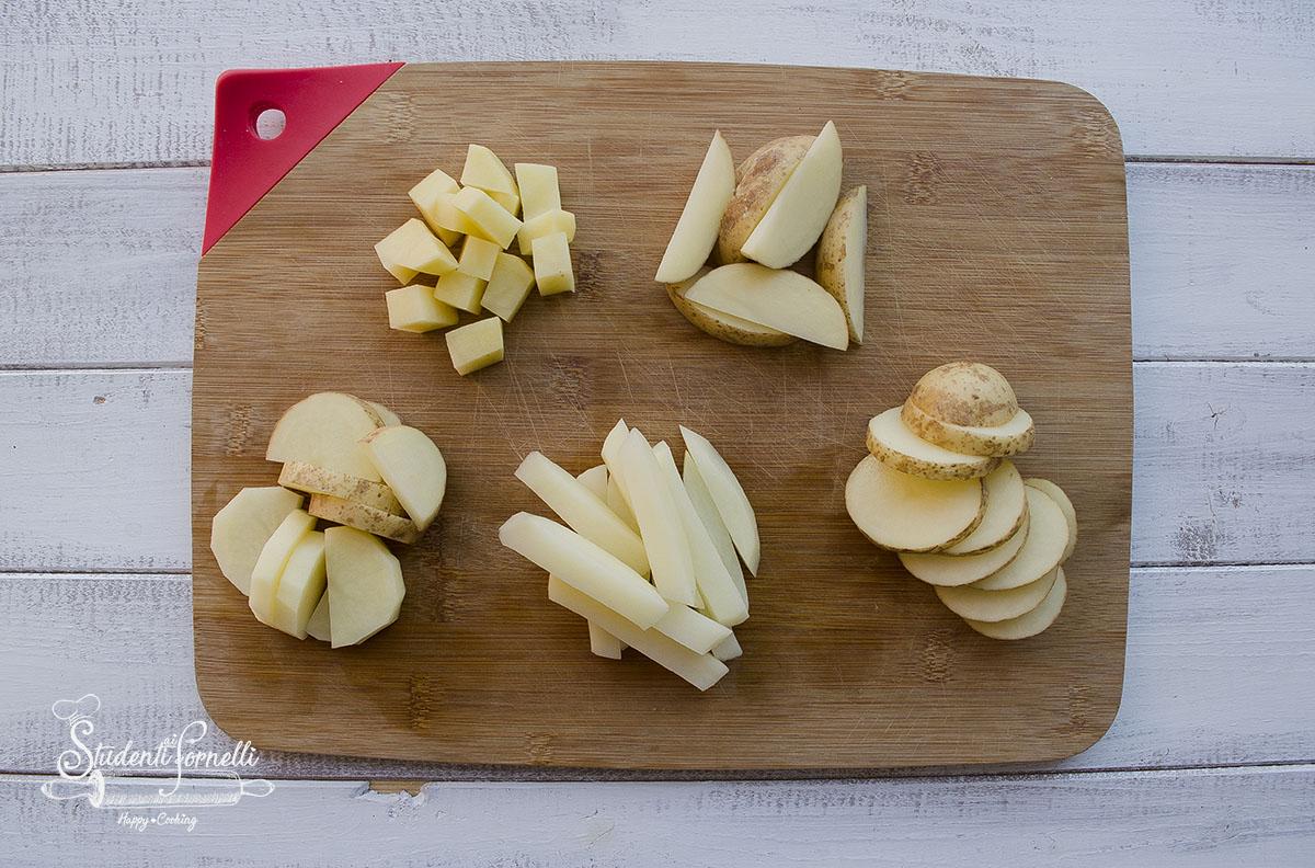 5 modi per tagliare le patate a rondelle a spicchi dadini mezzeluna