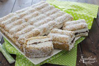 torta fredda pavesini e nutella cocco e caffè fredda ricetta dolce senza cottura