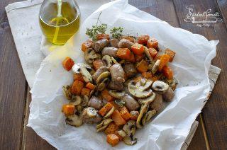 zucca e salsiccia con funghi cotti in friggitrice ad aria ricetta