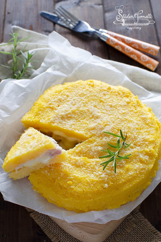ricetta torta di polenta prosciutto e formaggio gratinata in friggitrice ad aria