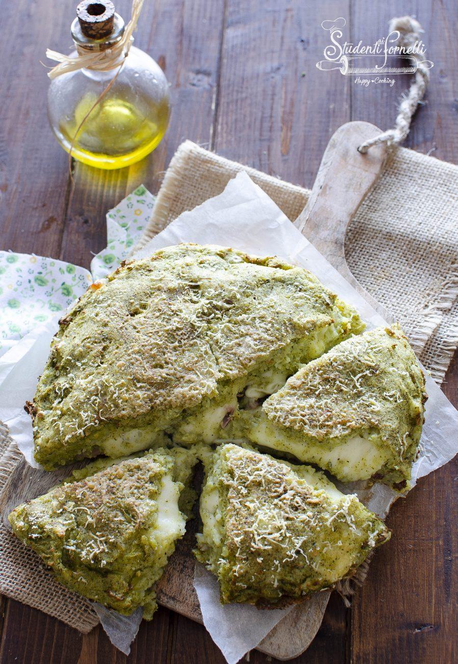 torta salata broccoli e patate in friggitrice ad aria