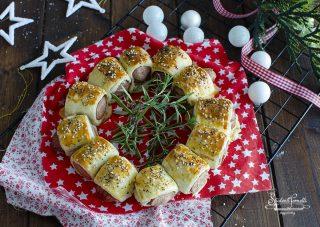 corona di rustici con wurstel ricetta antipasto centrotavola