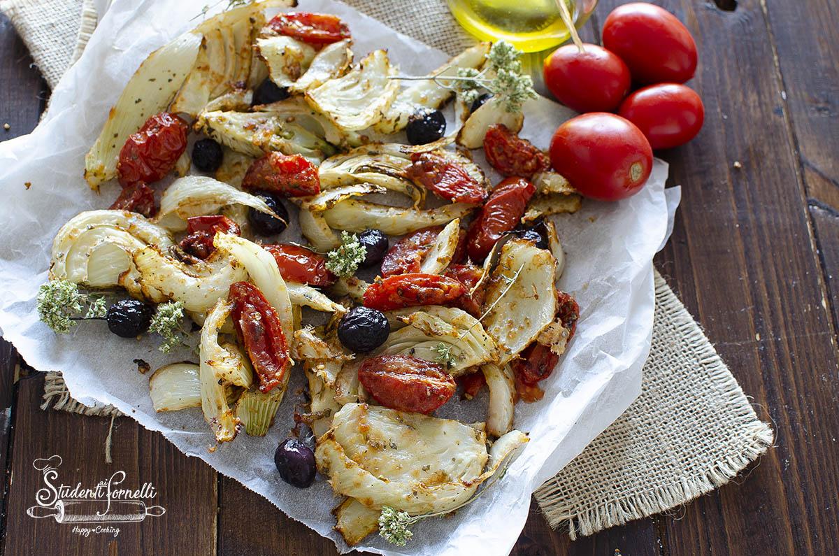 ricetta finocchi al parmigiano con pomodorini e olive in friggitrice ad aria