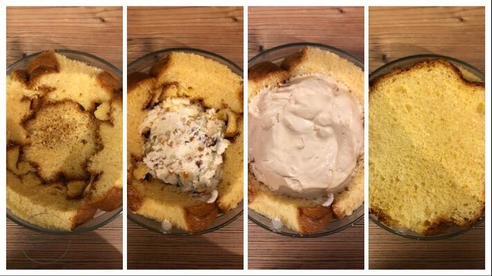 zuccotto di pandoro e gelato veloce senza cottura