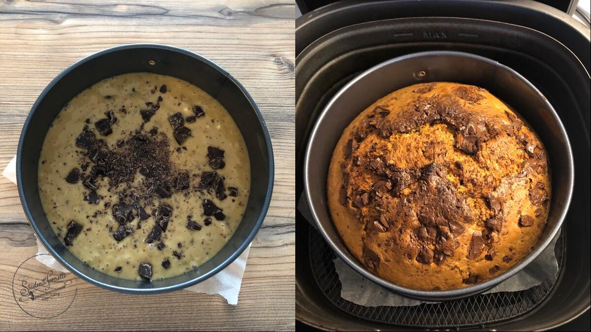 torta cappuccino e cioccolato in friggitrice ad aria ricetta dolce
