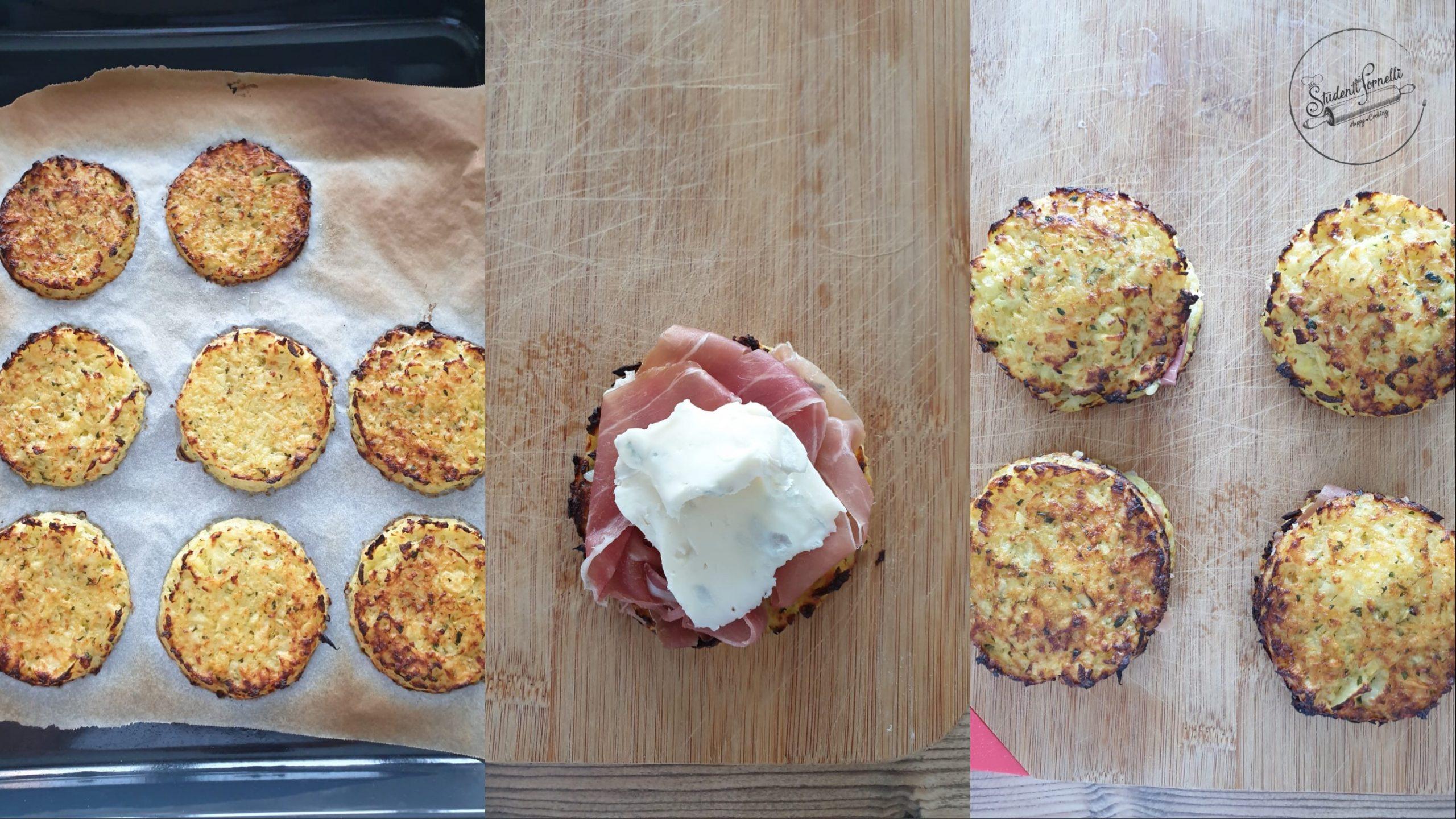 rosti di patate farciti prosciutto e gorgonzola