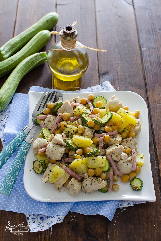 ricetta insalata di pollo con zucchine prosicutto e patate ricetta piatto unico