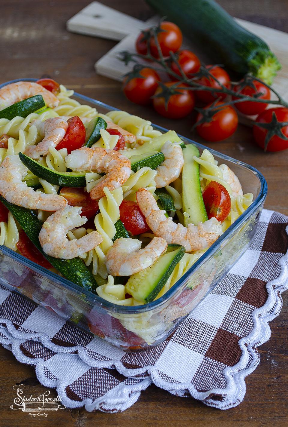 pasta fredda zucchine e gamberi ricetta primo piatto facile 2020