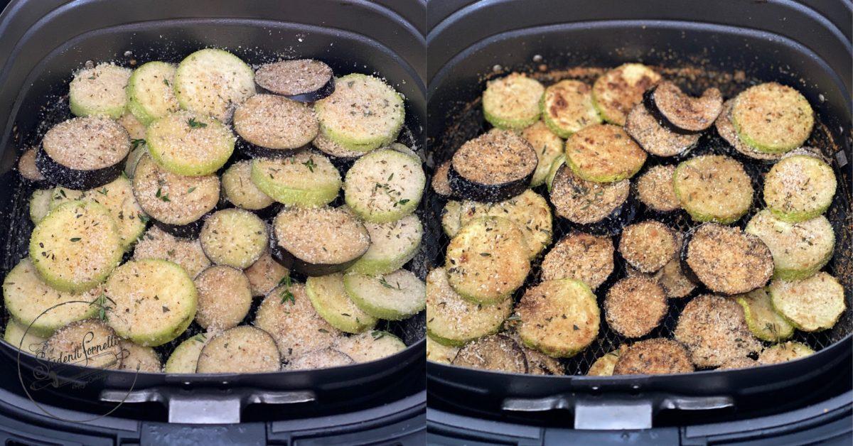 melanzane e zucchine gratinate in friggitrice ad aria