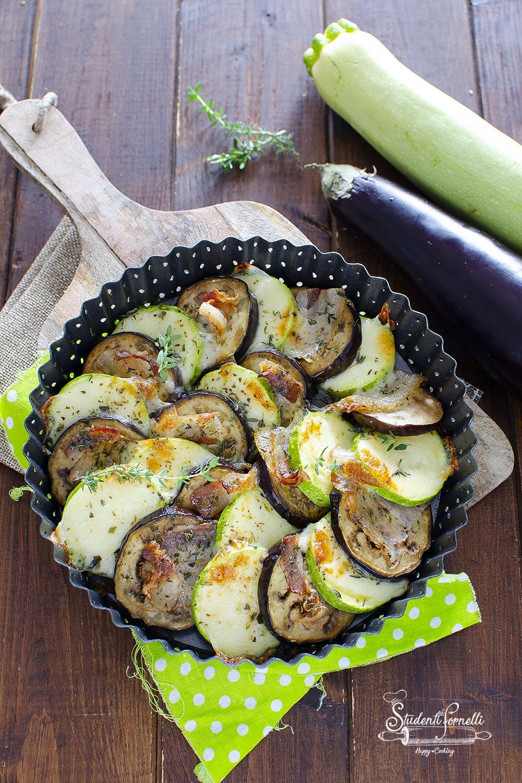 teglia di verdure zucchine e melanzane con pancetta e formaggio ricetta