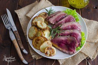 ricetta tagliata con patate di manzo con patate arrosto ricetta facile secondo