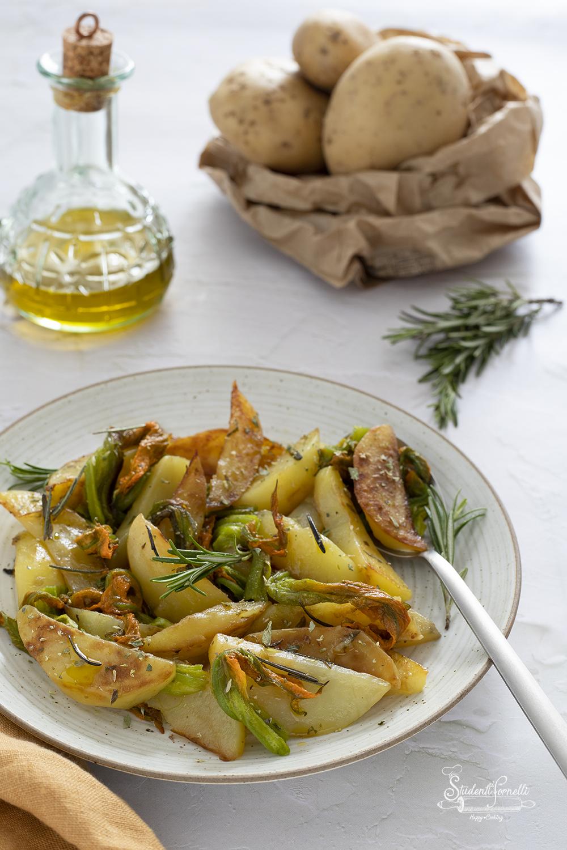 ciambotta di patate e fiori di zucca ricetta contorno vegetariano