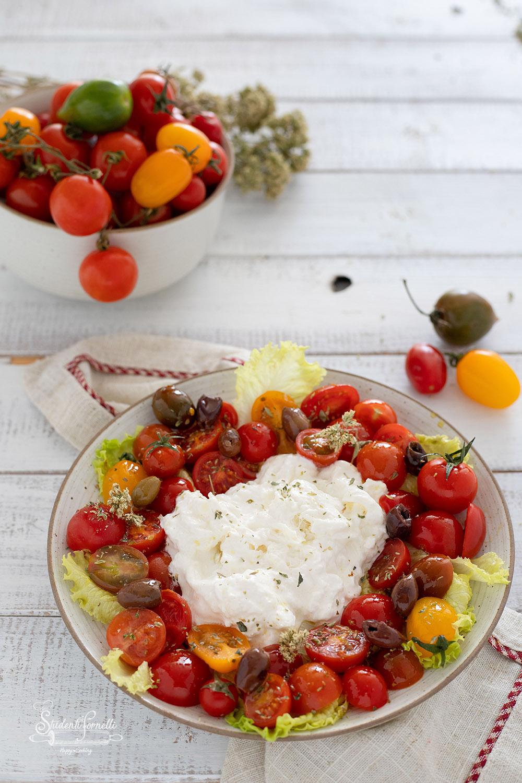 insalata con stracciatella e pomodorini ricetta