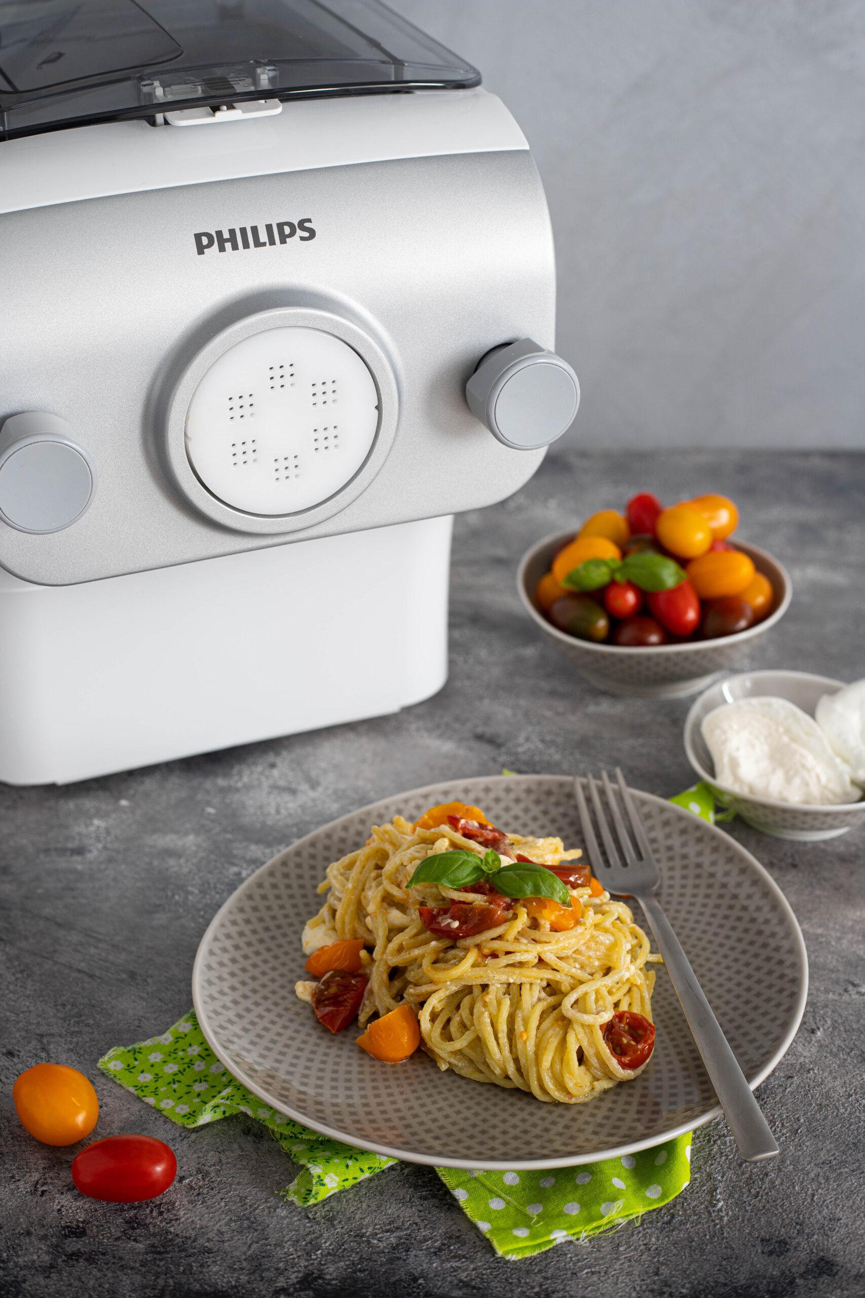 spaghetti al basilico burrata e pomodorini-6878