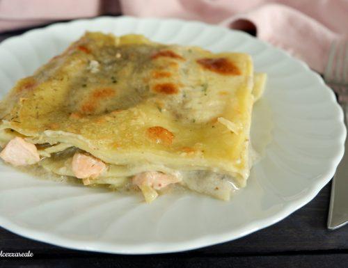 Lasagne al salmone e crema di carciofi