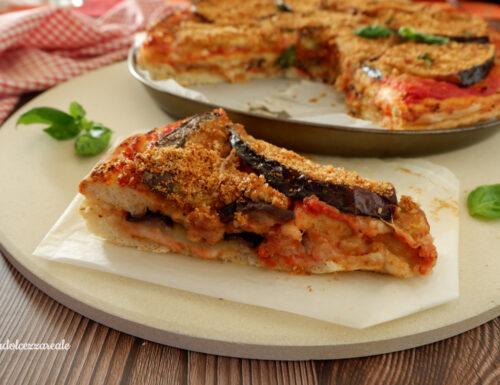 Pizza ripiena doppia con melanzane Ricetta di nonna Tina