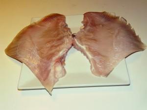 La parte edibile della Razza, 700 gr circa di quasi sola polpa