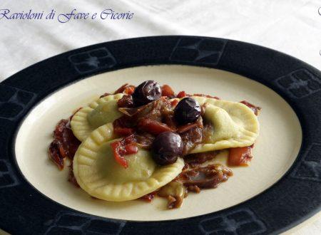 Ravioli di Fave e Cicorie in Salsa di Peperoni