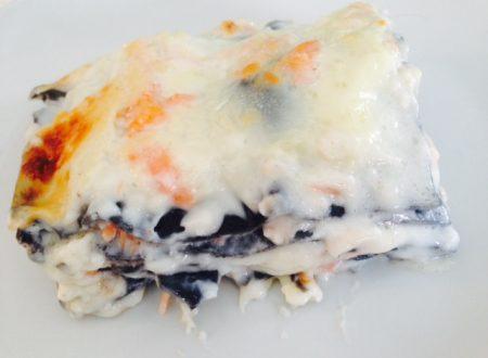 Lasagne al nero di seppia con salmone